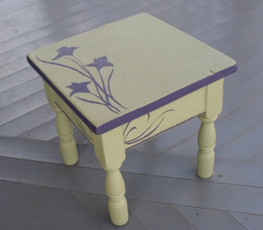 sage & purple stool